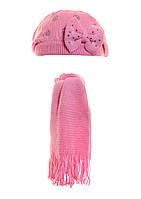 Вязанный берет с бантиком и шарфик на девочку.