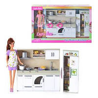 Кукла DEFA 6085 (12шт) кухня,кукла 29см,плита,мойка,посуда,продук,2вида, св,бат,кор,50-32-9см