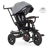 Велосипед M 4058HA-19-1 (1шт)три кол. гума (12/10),колясочн,поворот,USB/BT,світло,гальмівний,,сірий