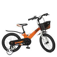Велосипед детский 18д.WLN1850D-4 (1шт) Hunter,SKD 85,магниев.рама,корзина,оранж,зв,доп.кол