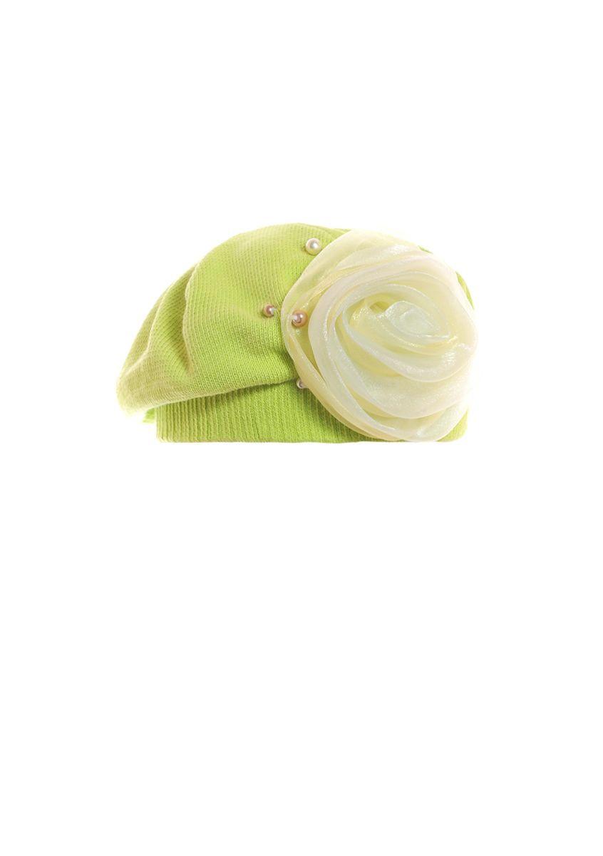 Женский красивый модный салатовый берет с розой.