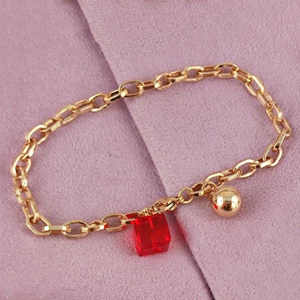 Браслет SW  18 см красный медицинское золото позолота 18К А/В 7-0191
