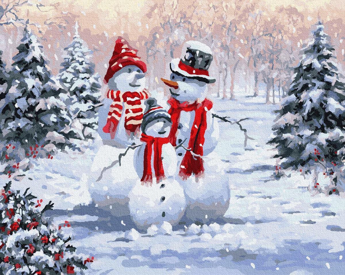 Картина малювання за номерами Brushme Родина сніговиків BRM8339 40х50 см Картини Новий рік набір для розпису