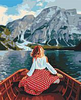 Картина малювання за номерами Мандрівниця на озері Брайес BS51327 40х50см розпис по цифрам набір для