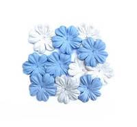 """Набор бумажных цветов """"белые /голубые"""" 10 шт., фото 1"""
