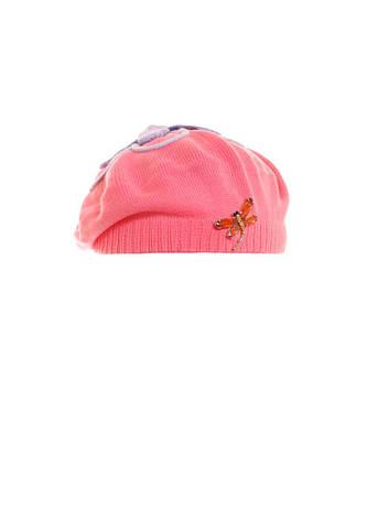 Детский красивый розовый  берет с сиреневым цветком и брошью., фото 2