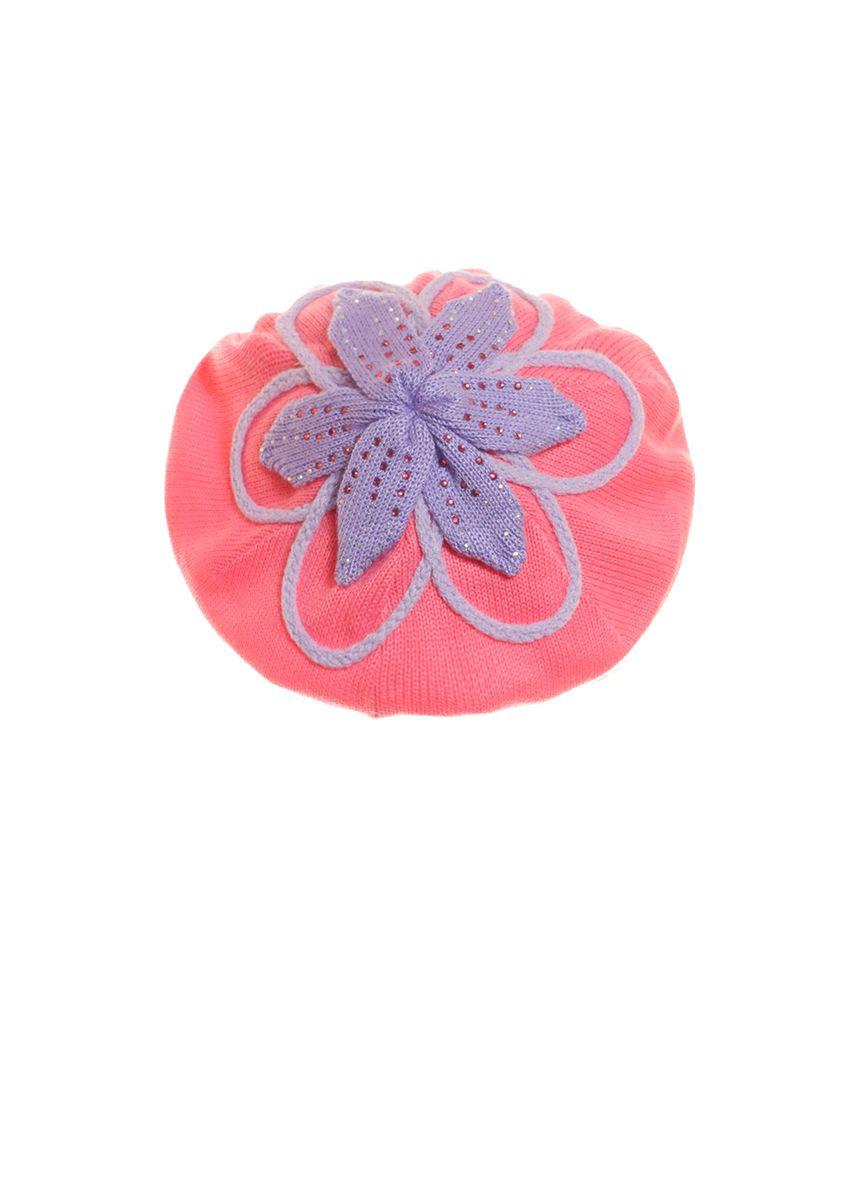 Детский красивый розовый  берет с сиреневым цветком и брошью.