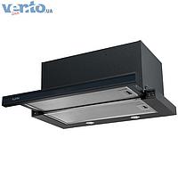 Ventolux Garda 60 BK/BG (1000) EU встраиваемая, телескопическая кухонная вытяжка, черная эмаль / черное стекло