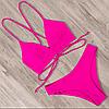 Яскравий неоновий рожевий купальник із завищеною талією, розмір S/M