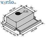 Ventolux Garda 60 BK (1000) EU вбудована, телескопічна кухонна витяжка, чорна емаль, фото 2