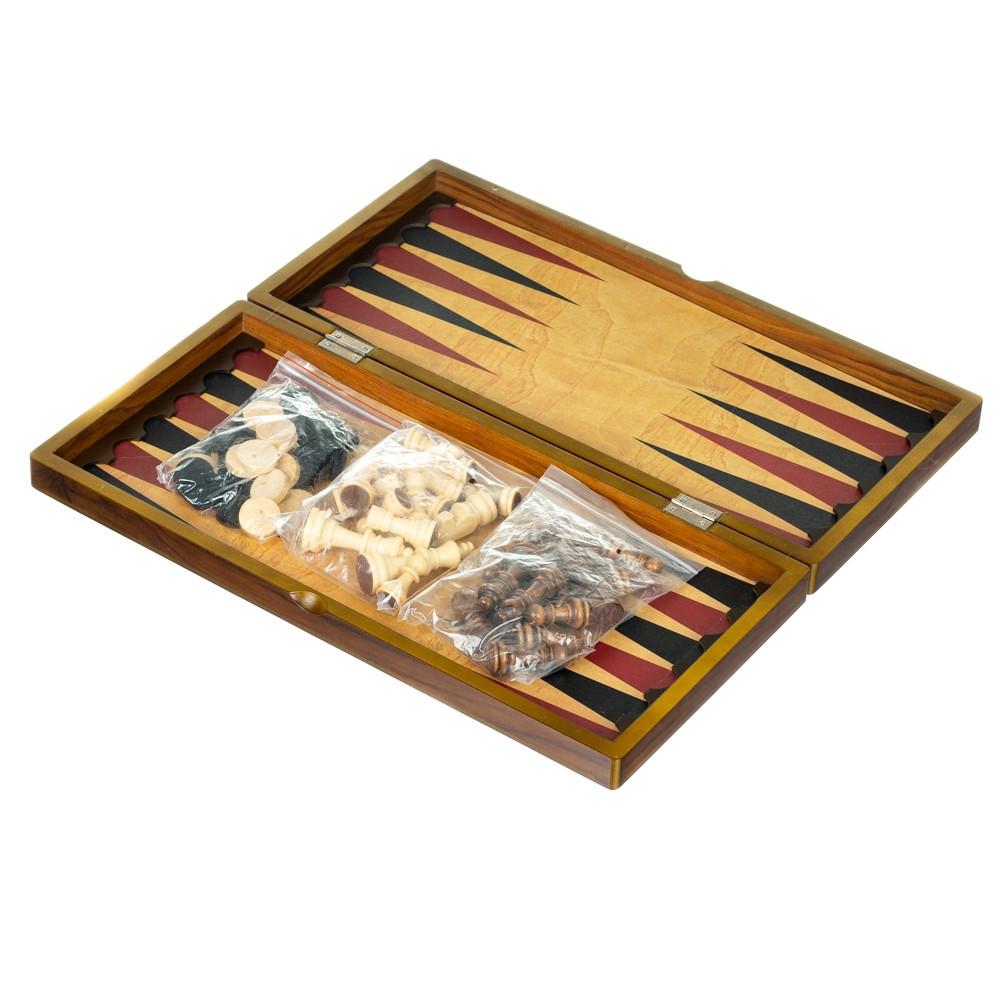 Подарунковий набір 3 в 1 Lefard (шахи, шашки, нарди) 24х48 см 18718-009