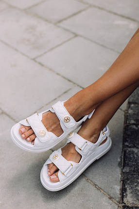 Chanel Sandals White Leather 37 (23.5 див.), фото 2