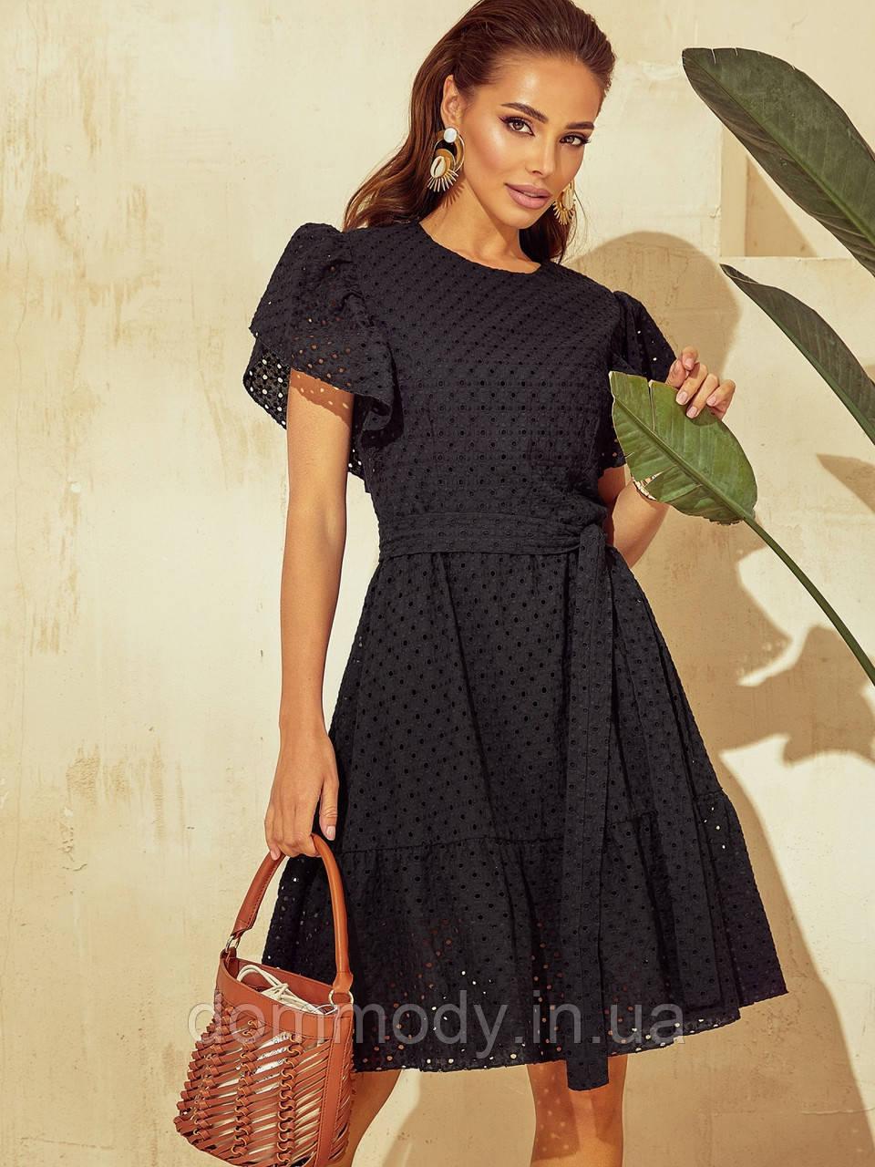 Сукня жіноча літня із прошви чорного кольору