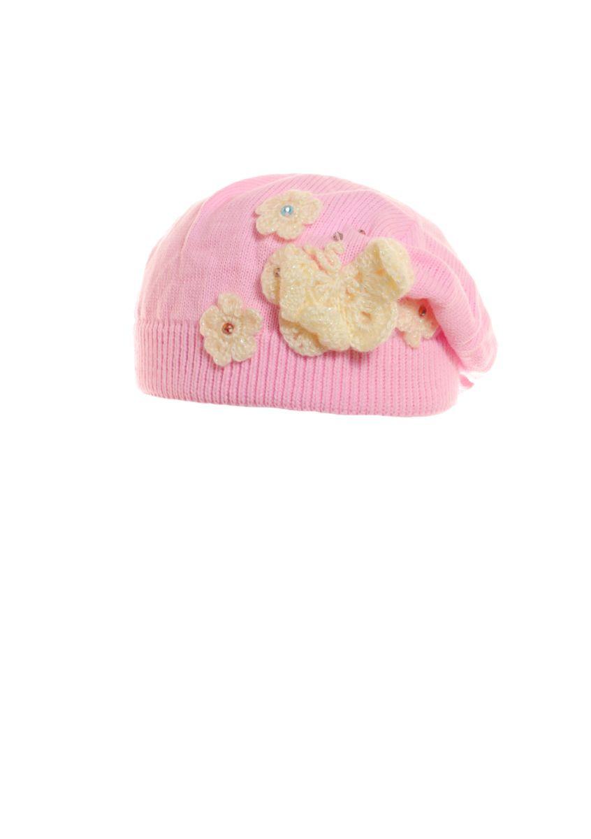 Детский красивый стильный розовый  беретик с аппликацией.
