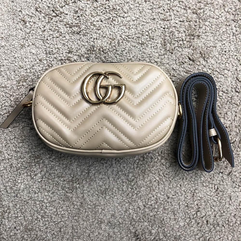 Поясная сумка Gucci Belt Bag GG Marmont Beige