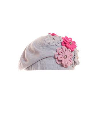 Женский красивый модный серый берет с цветами и бусинами., фото 2