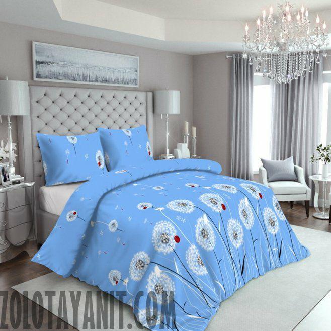 Комплект постельного белья из бязи Голд полуторный Одуванчики на голубом