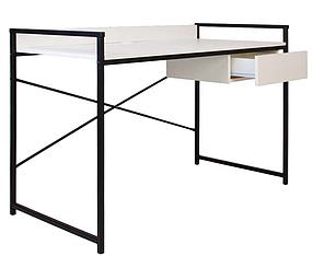 Компьютерный стол Oxford с ящиком ножки черные столешница ДСП Белая (Новый Стиль ТМ)