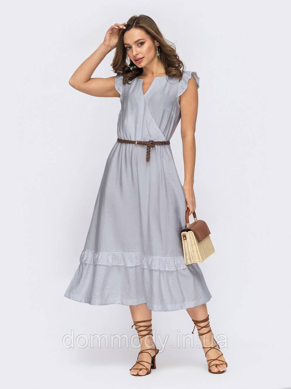 Женское летнее платье-бохо серого цвета