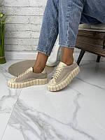 Стильні жіночі замшеві кросівки, кеди, бежеві, фото 1