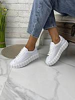 Стильные женские кожаные замшевые кроссовки кеды, белые, фото 1