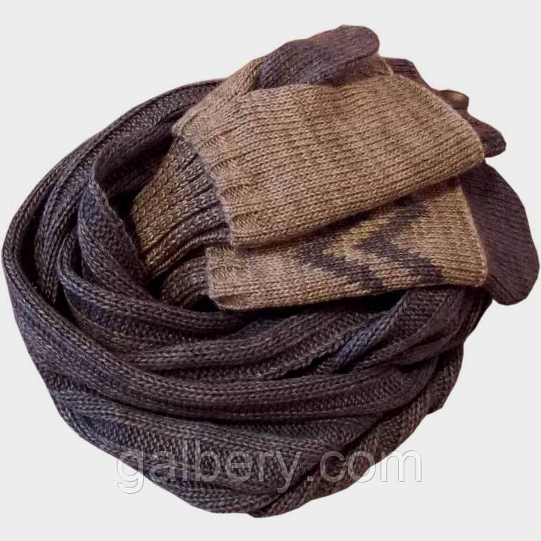Вязаный шарф - снуд и  варежки (с митенками) в cтиле норвежского орнамента