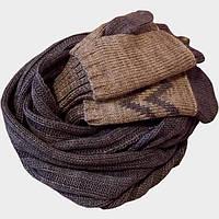 Вязаный шарф-снуд и  варежки (с митенками) в cтиле норвежского орнамента