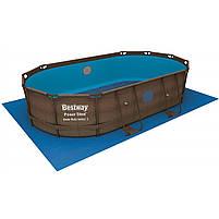 Каркасный бассейн Bestway 56716 Ротанг 549х274х122 большой овальный с картриджным фильтром тентом лестницей, фото 2