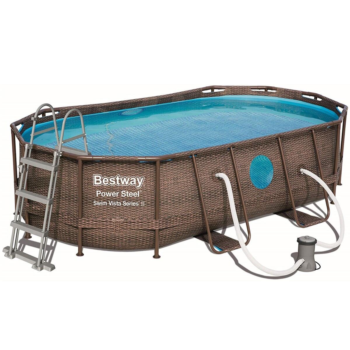 Каркасный бассейн Bestway 56716 Ротанг 549х274х122 большой овальный с картриджным фильтром тентом лестницей