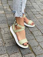 Стильні жіночі замшеві босоніжки, сандалі, оливка, фото 1