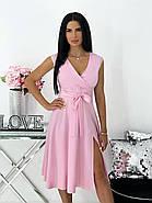 Повседневное яркое летнее платье с юбкой клеш, с небольшим разрезом и красивым декольте, фото 2