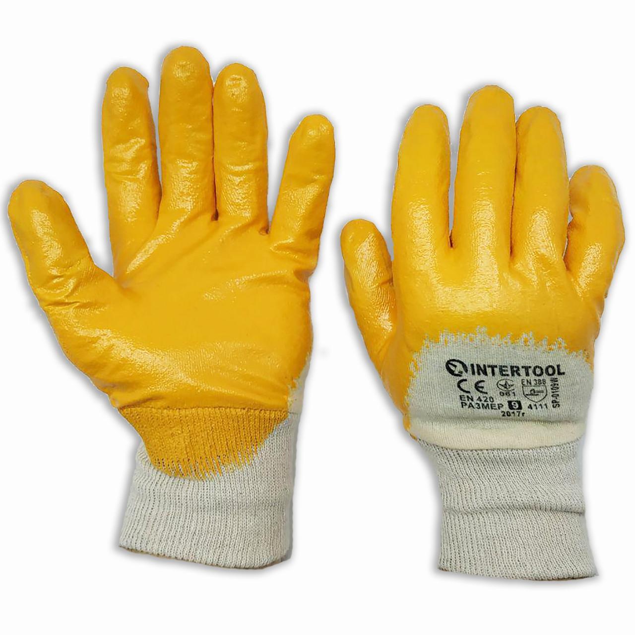 Перчатки Интертул х/б, на ладони нитриловый облив, № 9, уп. — 12 пар