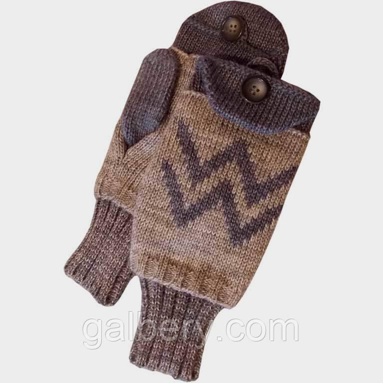 Вязаные зимние варежки с митенками, в стиле норвежского орнамента