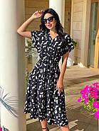 Женское платье длиною миди, талия на регулируемых завязках, фото 2