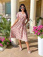 Легкое женское платье с коротким рукавом, с V-образным вырезом, фото 2