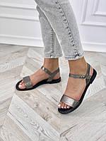 Зручні, легкі, жіночі шкіряні босоніжки, срібло, фото 1
