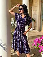 Міді плаття з коротким рукавом, з гудзиками від талії до вирізу горловини, фото 2