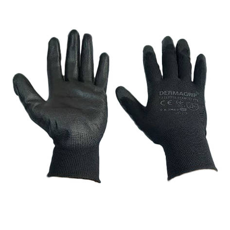 Перчатки рабочие Dermagrip нейлоновые черные полеуретан №10, фото 2