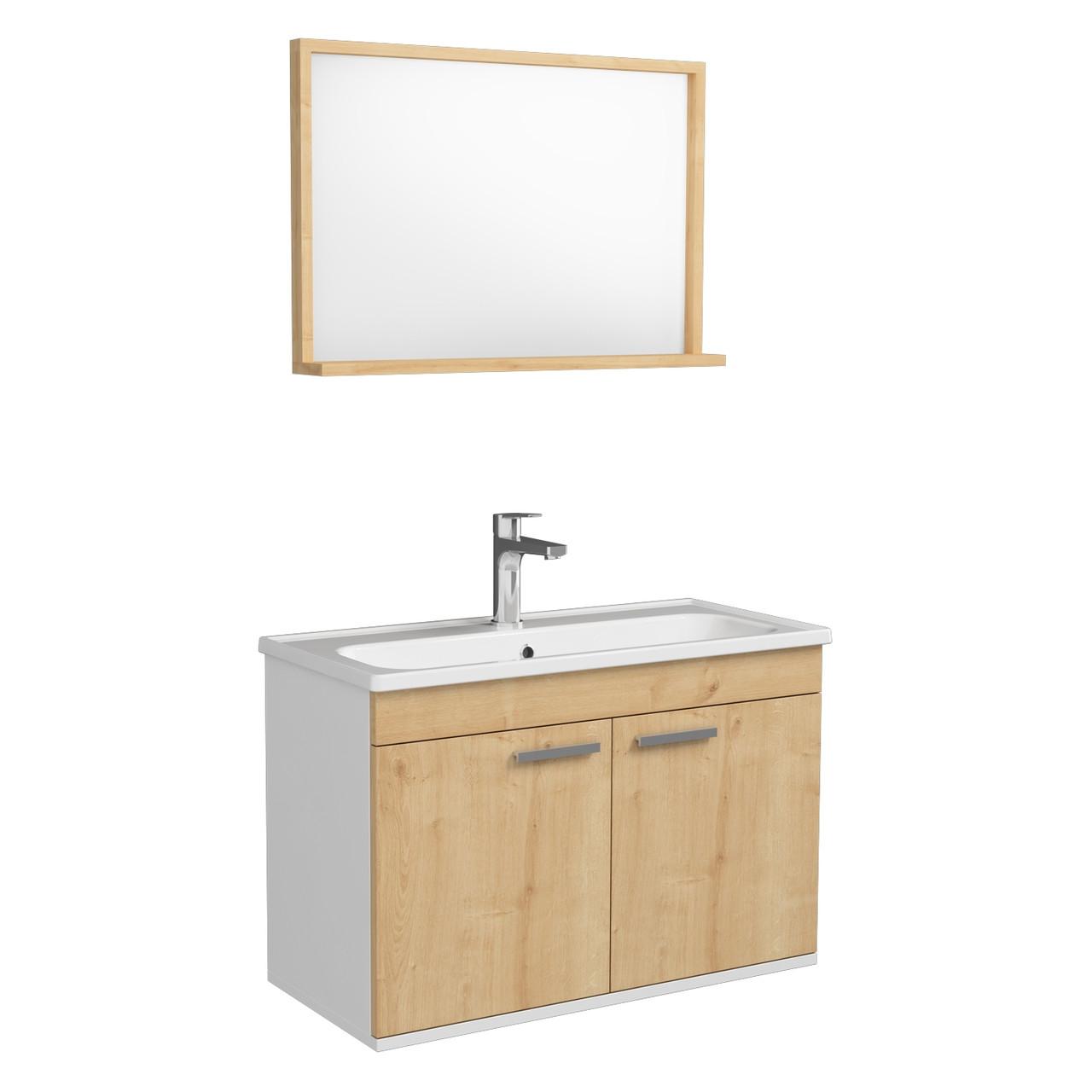Комплект мебели RJ First 80 RJ20800OK с тумбой и умывальником + зеркало 74х50 белый/дуб