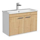 Комплект мебели RJ First 80 RJ20800OK с тумбой и умывальником + зеркало 74х50 белый/дуб, фото 3