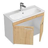 Комплект мебели RJ First 80 RJ20800OK с тумбой и умывальником + зеркало 74х50 белый/дуб, фото 4
