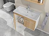 Комплект мебели RJ First 80 RJ20800OK с тумбой и умывальником + зеркало 74х50 белый/дуб, фото 7
