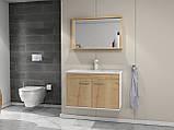 Комплект мебели RJ First 80 RJ20800OK с тумбой и умывальником + зеркало 74х50 белый/дуб, фото 8