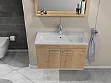 Комплект мебели RJ First 80 RJ20800OK с тумбой и умывальником + зеркало 74х50 белый/дуб, фото 9