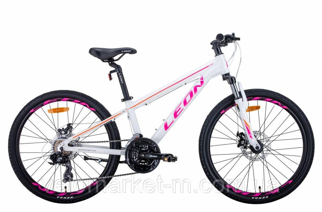 """Велосипед 24"""" Leon JUNIOR AM DD 2021 бело малиновый  с оранжевым"""