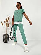 Спортивний жіночий костюм двійка з тканини двунить (футболка і штани), фото 4