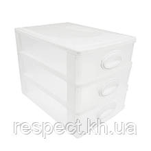 Міні комод пластиковий на 3 ящики / секції (білий)