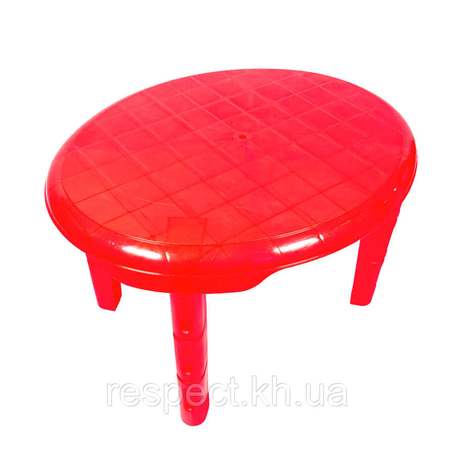 Детский пластиковый овальный стол (красный)