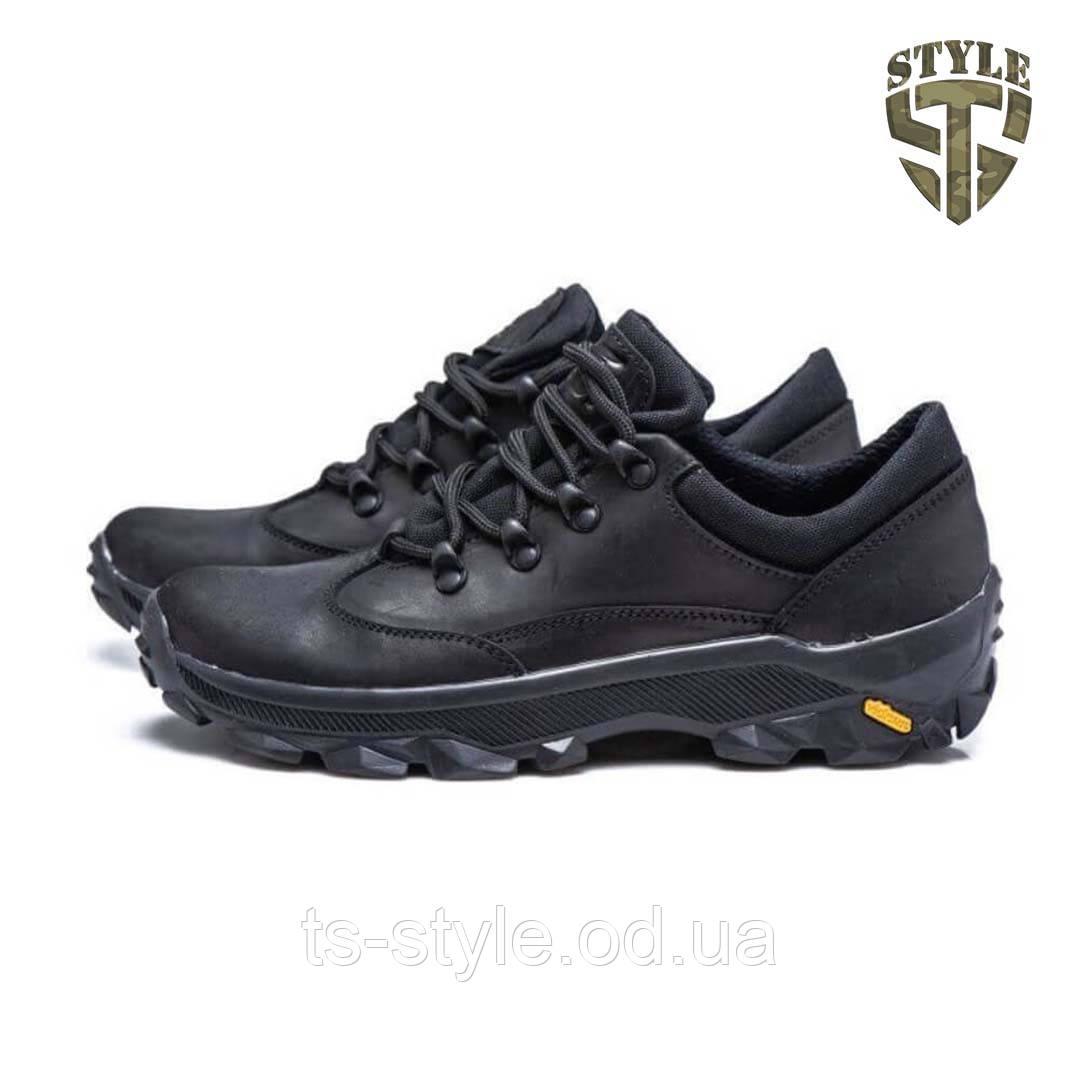 Кросівки трекінгові 20-02 шкіряні чорного кольору