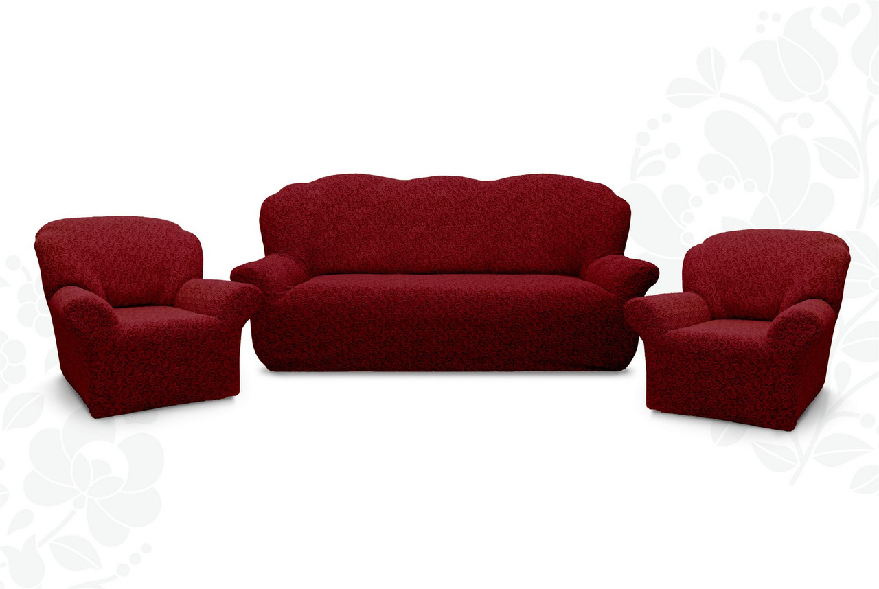 Чохол на диван і два крісла з щільної жаккардової тканини Дивандек універсальний без спідниці Колір Бордовий